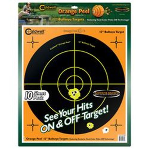 """Picture of Caldwell Shooting Supplies Paper Targets - Orange Peel Bullseye Targets, 12"""", Orange, Adhesive-Backed, Featuring Dual-Color Flake-Off Technology, 10 Sheets Pack"""