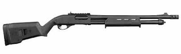 """Picture of Remington Model 870 Express Tactical Magpul Pump Action Shotgun - 12Ga, 3"""", 18-1/2"""", Matte Black Cerakote Coating, Matte Black Magpul SGA Stock, 6rds, XS Front Blade & XS Fully Adjustable Ghost Ring Sight Rail, Rem Choke (Tactical Extended/Ported)"""