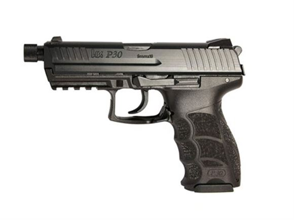 Picture of Heckler & Koch (H&K) P30 V3 DA/SA Action Semi-Auto Pistol - 9mm, 106mm Threaded, Blued, Polymer, 2x10rds, Fixed Sights