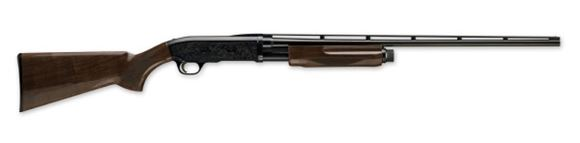 "Picture of Browning BPS Medallion Pump Action Shotgun - 12Ga, 3"", 28"", Gloss Blued, Vented Rib, Polished Blued Scrolled Engraved Steel Receiver, Gloss Grade II/III Walnut Stock, 4rds, Silver Bead Front Sight, Invector-Plus Flush (F,M,IC)"
