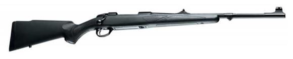 """Picture of Sako 85 Black Bear Bolt Action Rifle - 308 Win, 20"""", Matte Blue, Cold Hammer Forged Fluted Medium Contour Barrel w/Band Swivel, Black Synthetic Stock w/Rubber Grip Surfaces & Soft Touch Coating, 5rds, Adjustable Iron Sights, Single Set 2-4lb Adjustable Tr"""