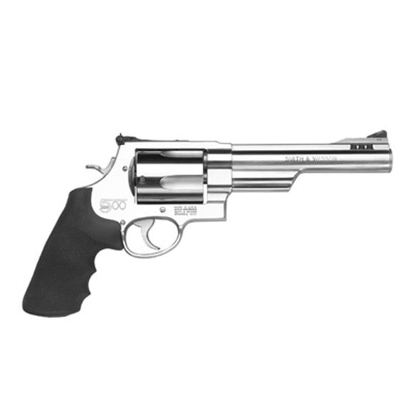 """Picture of Smith & Wesson (S&W) Model 500 DA/SA Revolver - 500 S&W Mag, 6.5"""", Satin Stainless Steel, X-Large Frame (X), Synthetic Grip, 5rds, Red Ramp Front & Adjustable White Outline Rear Sights"""