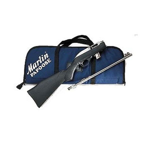"""Picture of Marlin Model 70PSS Stainless (Papoose) Rimfire Semi-Auto Rifle, 22 LR, 16-1/4"""", Stainless Steel, Monte Carlo Black Fiberglass-Filled Synthetic Stock w/Abbreviated Fore-End, 7rds, Ramp Front w/High Visibility Orange Post & Cutaway Wide-Scan Hood & Adjusta"""