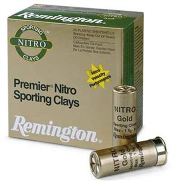 "Picture of Remington Target Loads, Premier Nitro Gold Sporting Clays Target Loads Shotgun Ammo - 410, 2-1/2"", MAX DE, 1/2oz, #8, Extra Hard STS Target Shot, 25rds Box, 1300fps"