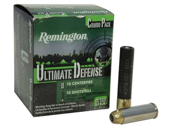 "Picture of Remington Home Defense, Ultimate Defense Combo Pack Centerfire Pistol & Revolver Handgun Ammo - 45 Colt, 230Gr, BJHP, 10rds/410 Lead Shotshell, 2-1/2"", 4 Pellets, #000 Buck, 10rds, 1225fps, (1 Pack)"