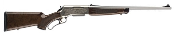 """Picture of Browning BLR White Gold Medallion Lever Action Rifle - 308 Win, 20"""", Sporter Contour, High Gloss Polished Stainless Steel, Gloss Nickel Aluminum Alloy Receiver w/High-Relief Engraving, Gloss Grade IV/V Black Walnut Pistol Grip Stock w/Rosewood Fore-End C"""