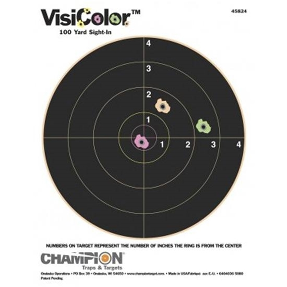 Picture of Champion Targets, Interactive, VisiColor Targets - VisiColor 100Yard Sight-In, 10 Pack