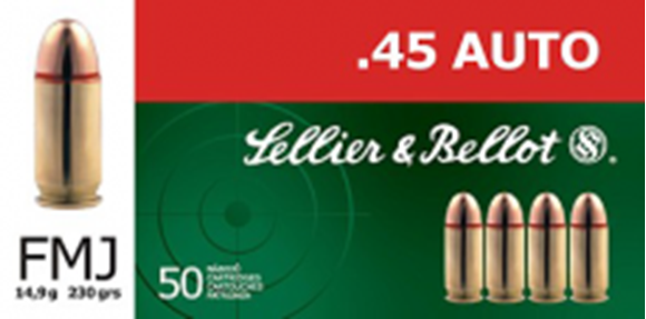 Picture of Sellier & Bellot Pistol & Revolver Ammo - 45 Auto, 230Gr, FMJ, 50rds Box