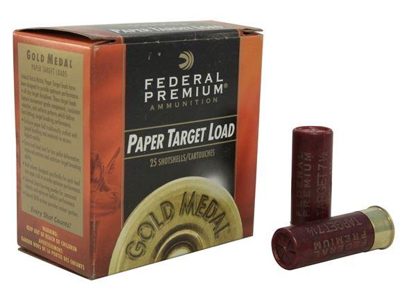 """Picture of Federal Gold Medal Handicap Paper Target Load Shotgun Ammo - 12Ga, 2-3/4"""", Handicap DE, 1-1/8oz, #7.5, 25rds Box, 1235fps"""