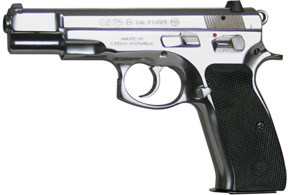 """Picture of CZ 75B High Polished Stainless DA/SA Semi-Auto Pistol - 9mm, 4.6"""", Gloss Stainless Steel, Rubber Grips, 2x10rds, Fixed 3-Dot Sights"""