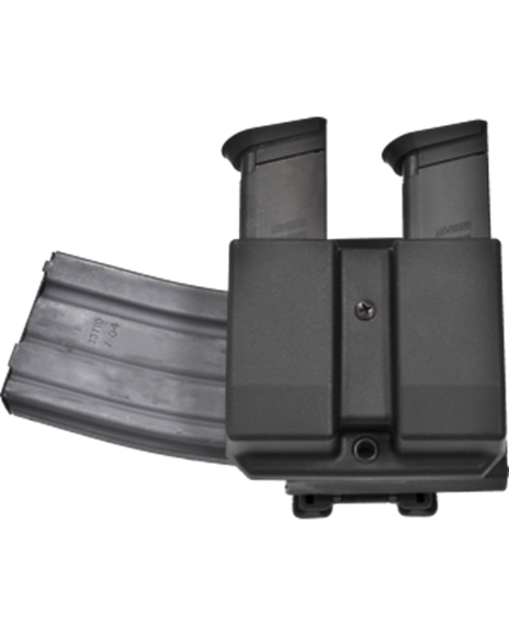 """Picture of Blade-Tech Revolution Combo Rifle-Pistol Mag Pouches - Revolution Combo AR Mag + Double Pistol Mag, 3"""" Duty Loop, DMP Glock 9/40, AR Mag Vertical Cant, Black, Right Hand"""