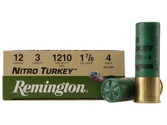 "Picture of Remington Target Loads, Nitro Turkey Loads Shotgun Ammo - 12Ga, 3"", MAX DE, 1-7/8oz, #4, 100rds Case, 1210fps"