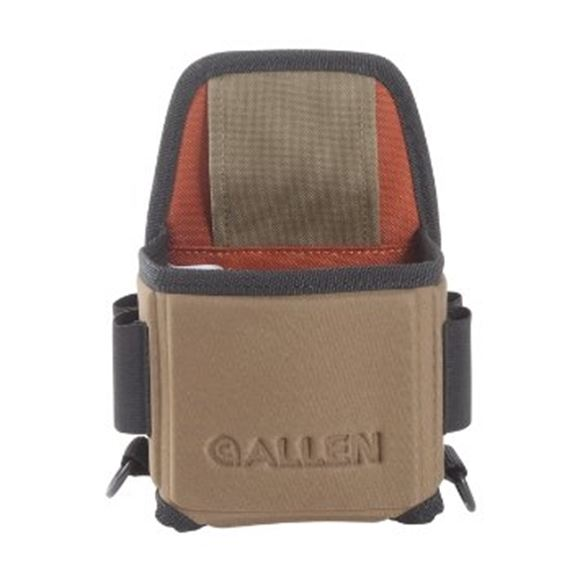 Picture of Allen Shooting Accessories, Shooting Bags - Eliminator Single Box Shell Carrier, Belt Loop Attachment Options, w/2 Elastic Loops On Each Side & D-Rings For Towels/Shooting Glasses, Black/Coffee/Copper