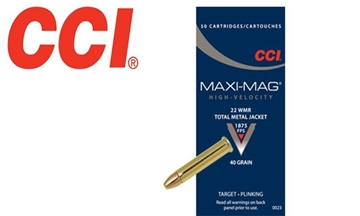 Picture of CCI Competition Target & Plinking Rimfire Ammo - Maxi-Mag, 22 Win Mag, 40Gr, TMJ, 500rds Brick, 1875fps