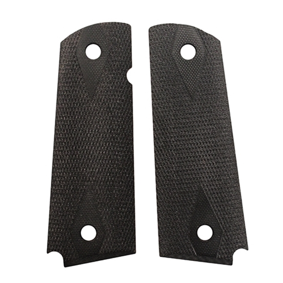 """Picture of Hogue Handgun Grips, 1911 Grips, Government 1911/Commander/Clones, Extreme Series G10, 3/16"""" (Thin) G10 Grips - 1911 Govt Model 3/16"""" Thin, Checkered, Solid Black G10"""