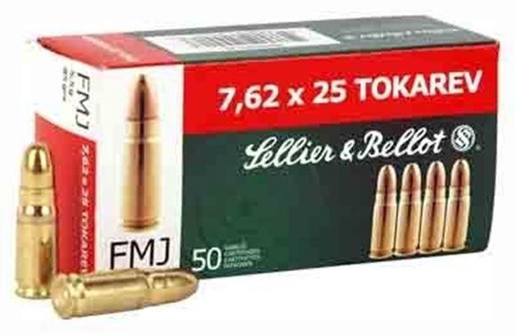 Picture of Sellier & Bellot Pistol & Revolver Ammo - 7.62x25mm Tokarev, 85Gr, FMJ, 50rds Box