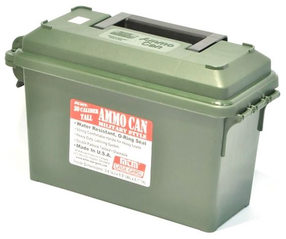 """Picture of MTM Case-Gard Ammo Can - 30 Caliber, Tall, Military Style, Forest Green, 3.4""""(L)x8.9""""(W)x6.1""""(H)"""