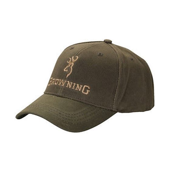 Picture of Browning Outdoor Clothing, Caps/Headwear - Dura-Wax Solid Color Cap, Olive, Hook and Loop, Cotton, One Size Fits Most