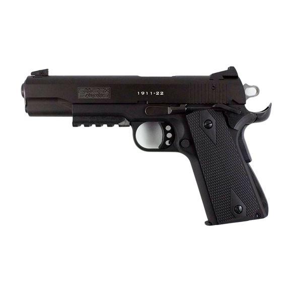 "Picture of German Sport Guns (GSG) Swiss Arms 1911 Tactial Rimfire Single Action Semi-Auto Pistol - 22 LR, 5"", Black, 10rds, Mock Supressor, Acessories Rail"