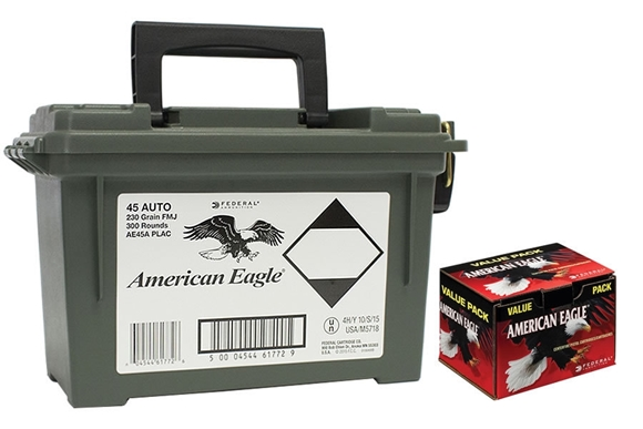 Picture of Federal American Eagle Handgun Ammo - 45 Auto, 230Gr, FMJ, 300rds Plastic Ammo Can
