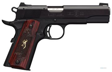 """Picture of Browning 1911-22 Black Label Medallion Rimfire Single Action Semi-Auto Pistol - 22 LR, 4-1/4"""", Matte Black Aluminium Alloy Slide, Matte Black Alloy Frame, Checkered Rosewood Grips w/ Gold Buckmark Inlay, 10rds, Fixed Black A1 Front & Rear Sights"""
