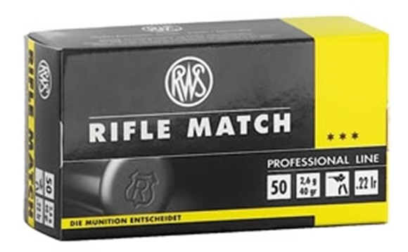 Picture of RWS Rottweil Professional Line Sports Rimfire Ammo - Rifle Match, 22 LR, 40Gr, Solid, 500rds Brick