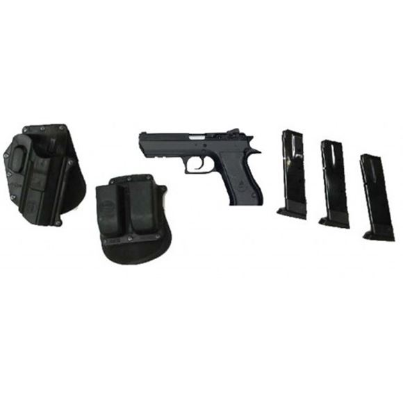 """Picture of IWI Jericho 941 / Magnum Research Baby Desert Eagle II Full Size DA/SA Semi-Auto Pistol, Competition Kit - 9mm, 4.52"""", Black Oxide, Steel Frame & Slide, Plastic Grips, 3x10rds, Combat Type White 3-Dot Fixed Sights"""