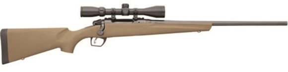 """Picture of Remington Model 783 Synthetic Scoped Bolt Action Rifle - 243 Win, 22"""", Carbon Steel, Button Rifled, Matte Black, Magnum Contour, Flat Dark Earth Synthetic Stock, Pillar-Bedded, 4rds, CrossFire Adjustable Trigger, SuperCell Recoil Pad, w/3-9x40mm Scope"""