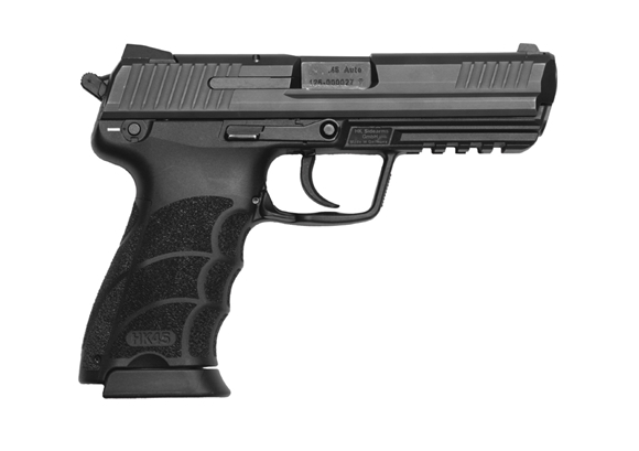"Picture of Heckler & Koch (H&K) 45 V3 DA/SA Semi-Auto Pistol - 45ACP, 4.5"", Blued Slide, Polymer Frame, 2x10rds, Glow in the Dark Fixed Sights, Decocker Only"