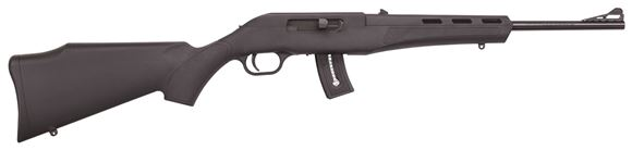 "Picture of Mossberg Blaze 10-Round Rimfire Semi-Auto Rifle - 22 LR, 16.5"", Blued, Black Synthetic Stock, 10rds, Adjustable Rear Sight"