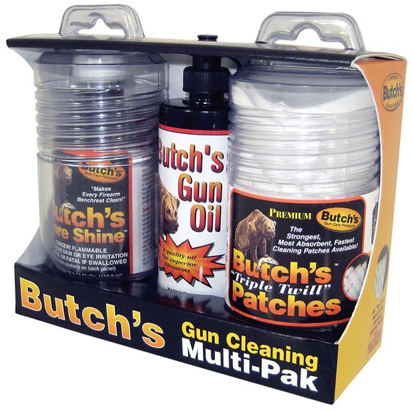 "Picture of Butch's Gun Cleaning - Multi Pak, 3.75oz Bore Shine, 4oz Gun Oil, Triple Twill 3"" Squares Patches"