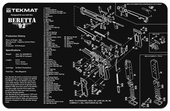 Picture of Tekmat Beretta 92 Gunsmith's Bench Mat - Black Neoprene, with Exploded Parts View