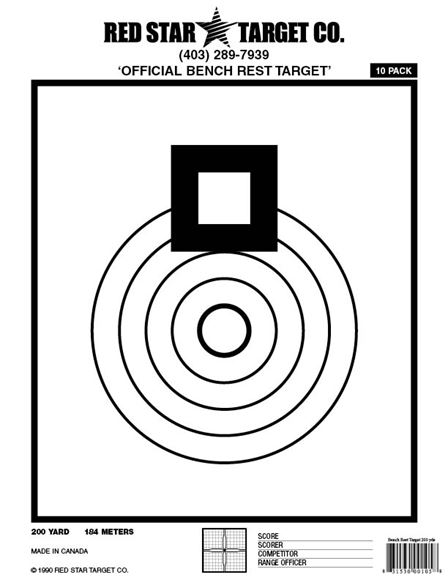 """Picture of Red Star Targets - Bench Rest 200 Yards, 8.5"""" x 11"""", Extra Thick Shooting Paper, 10pk"""