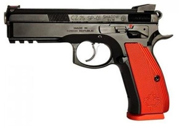 "Picture of CZ 75 SP-01 Shadow Canadian Black DA/SA Semi-Auto Pistol - 9mm, 4.61"", Hammer Forged, Black Polycoat, Red Aluminum Grips, Fiber Optic Front & Fixed Rear Sights, 3x10rds, Ambi Extended Safety, Gunsmith Tuned"