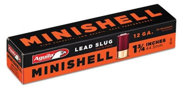 "Picture of Aguila Shotgun Ammo, Minishells - 12G, Lead Slug, 1 3/4"", Low Recoil, 500rds Case"