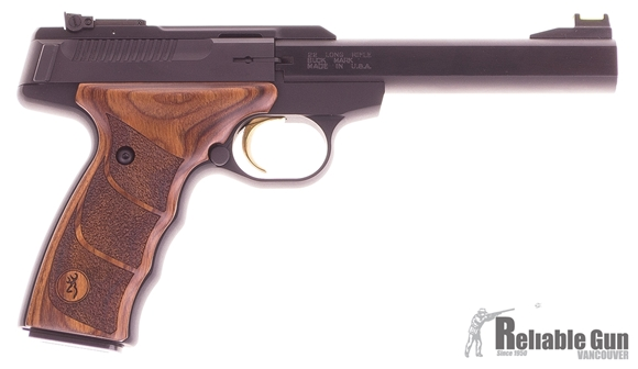 """Picture of Used Browning Buck Mark Plus UDX Rimfire Semi-Auto Pistol - 22 LR, 5-1/2"""", Matte Blued Polished Flats Slabside, Walnut Laminated Ultragrip DX Ambidextrous Grip, 2x10rds, TruGlo/Marble's Fiber-Optic Front & Adjustable Pro-Target Rear Sights, Excellent"""