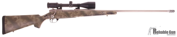 Picture of Used Weatherby Mark V Bolt Action Rifle, 300 WBY, Stainless Barrel, Muzzle Brake, Camo Stock, Ziess Conquest 3.5-10x50, Good Condition