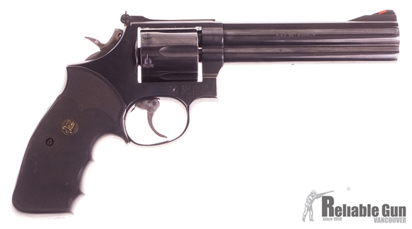 """Picture of Used Smith & Wesson Model 586-1 Double Action Revolver, .357 Mag, 6-Shot, 6"""" Blued Barrel, Pachmayr Grip, Original Box, Very Good Condition"""