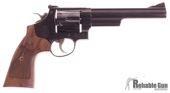 """Picture of Used Smith & Wesson (S&W) Model 29-10 S&W Classics DA/SA Revolver - 44 Rem Mag, 6-1/2"""", Blued, Carbon Steel Frame & Cylinder, Large Frame (N), Altamont Service Walnut Grip, 6rds, Red Ramp Front & Adjustable Rear Sights"""