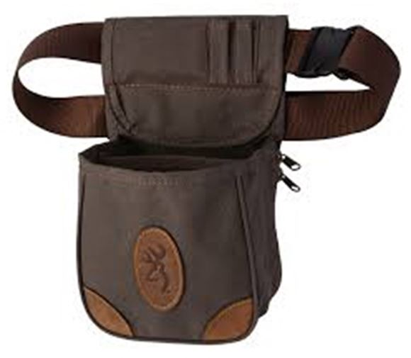 "Picture of Browning Shell Pouch - Lona Canvas/Leather Shell Pouch, Flint, 8"" W x 12-1/2"" H x 5"" D"