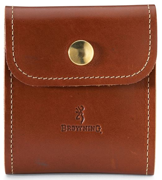 Picture of Browning Shooting Accessories, Choke Tube & Cartridge Cases - Leather Cartridge Case, Brown Leather, Holds 10 Rifle Cartridge