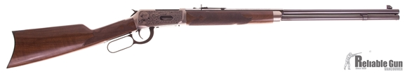"""Picture of Used Winchester Model 94 High Grade Lever Action Rifle (Oliver Fisher Winchester 200th Anniversary Commemorates) - 30-30 Win, 24"""", Round/Octagon, High Gloss Blued, Silver Nitride Receiver, Scroll Engravings w/Gold, Gloss Grade II/III Walnut Stock, 8rds,"""
