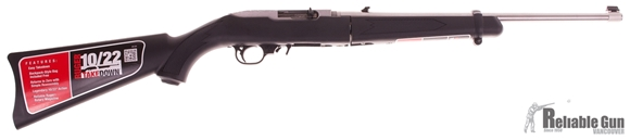 """Picture of Used Ruger 10/22 Takedown Rimfire Semi-Auto Rifle - 22 LR, 18.50"""", Clear Matte, Stainless Steel, Black Synthetic Stock, 10rds, Gold Bead Front & Adjustable Rear Sights, w/5.11 Backpack, New In Box"""
