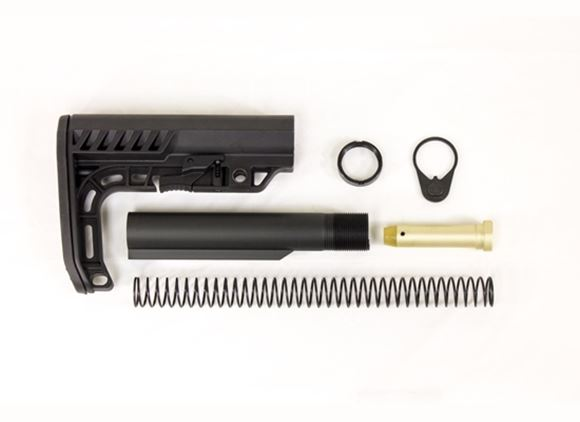 Picture of Minimalist Stock Kit - MSK Collapsible Stock, 6 Position Mil Spec buffer tube, Carbine recoil spring, Carbine recoil buffer, End Plate, Castle nut/lock ring