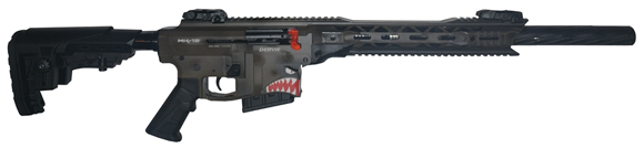 """Picture of Derya Arms MK-12 Spitfire Edition Model AS109B Vertical Magazine Semi-Auto Shotgun - 12Ga, 3"""", 20"""", Distressed Tan Receiver, Synthetic Stock, 1x2rds, 2x5rds, AR Flip Up Sights, Barrel Shroud, 3 Mobil Chokes"""