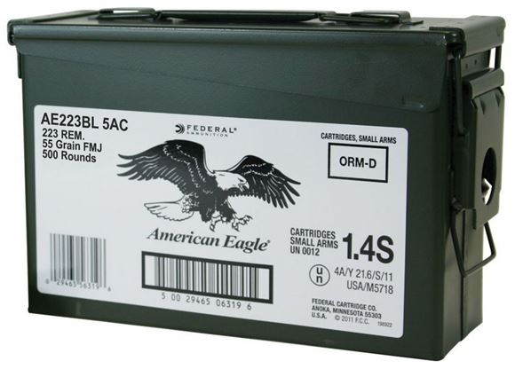 Picture of Federal American Eagle Rifle Ammo - 223 Rem, 55Gr, FMJBT, 500rds Army Can, AR223