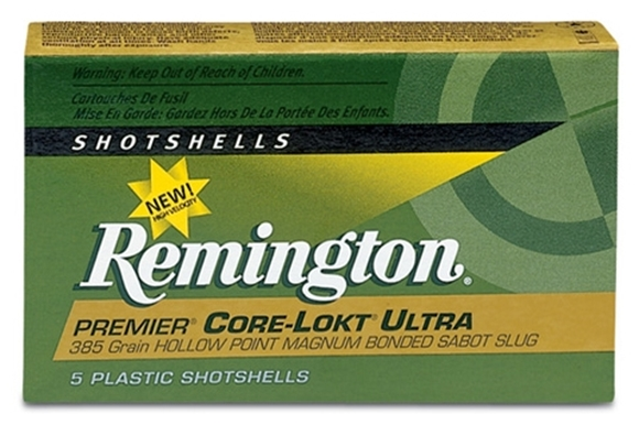 "Picture of Remington Slugs, Premier Core-Lokt Ultra Bonded Sabot Slugs Shotgun Ammo - 12Ga, 2-3/4"", MAX DE, 385Gr, CLHP, 5rds Box, 1900fps"