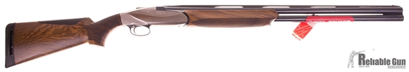 """Picture of Pre-Owned Never Fired, Benelli 828U Over/Under Shotgun - 12Ga, 3"""", 28"""", Blued, Engraved Nickel, AA-Grade Satin Walnut Stock, Fiber Optic Front Sight w/Red Insert, Crio (C,IC,M,IM,F), With Orginal Case And Accessories"""