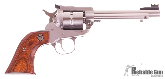 """Picture of Used Ruger Single-Ten Single Action Revolver - 22 LR, 5.50"""", Satin Stainless, Stainless Steel, Hardwood Grips, 10rds, Williams Adjustable Fiber Optic Sights, Excellent Condition."""