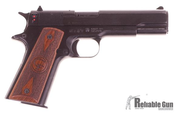 Picture of Used Chiappa 1911 22 LR Pistol, Black With Wood Grips, 2 Magazines, Original Box Good Condition